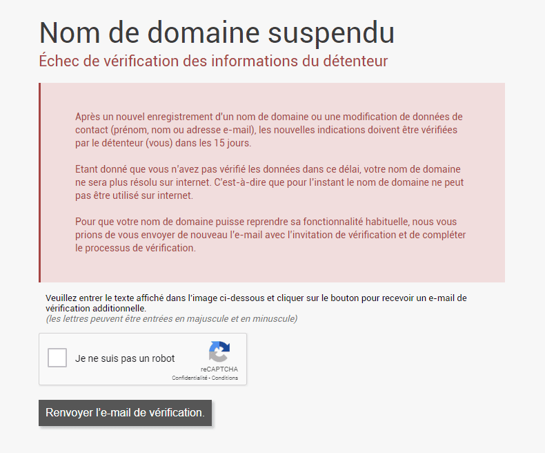 Message suspension de domaine