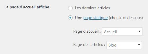 Choix de la page d'accueil