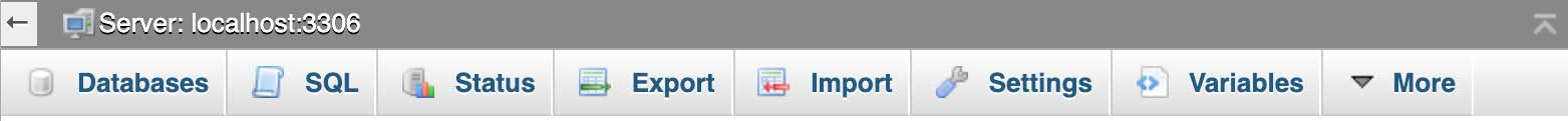 phpMyAdmin database menu