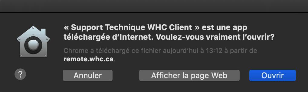 Boite de dialogue sécurité Mac