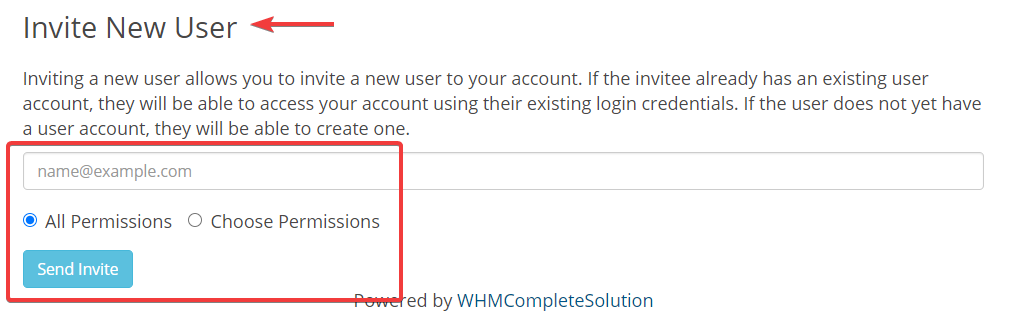Client Area Invite User