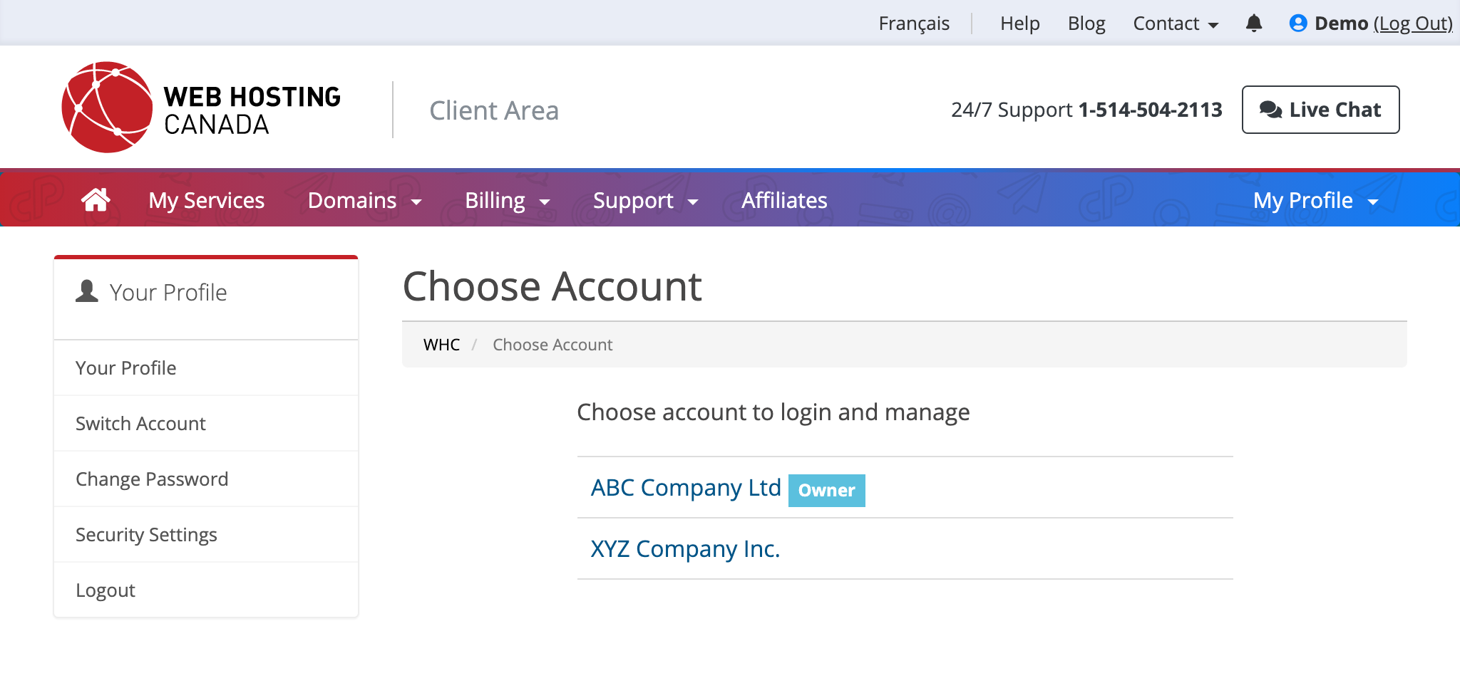 Client Area Switch Account