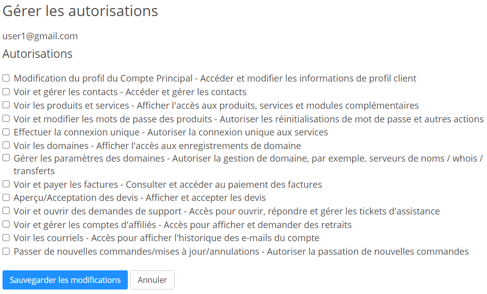 Client Area User Permisssions
